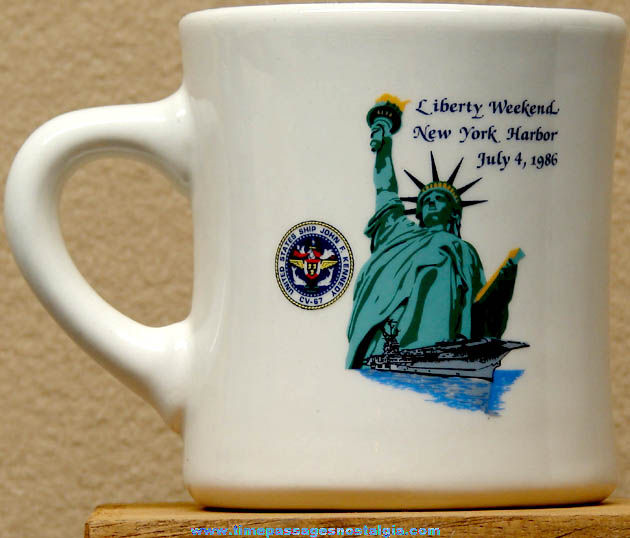 1986 United States Navy U.S.S. John F. Kennedy CV-67 Advertising Ceramic or Porcelain Coffee Cup