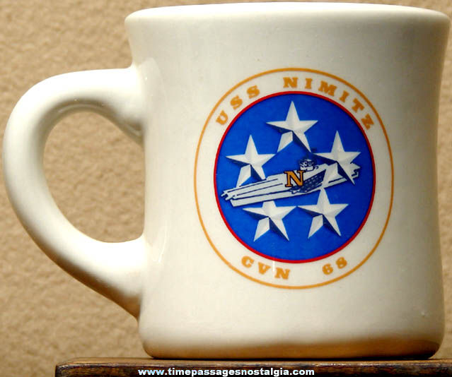 Old United States Navy U.S.S. Nimitz CVN-68 Advertising Ceramic or Porcelain Coffee Cup