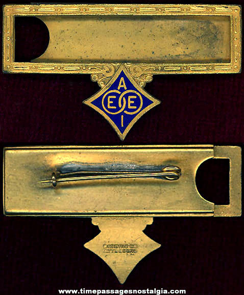 Old American Institute of Electrical Engineers AIEE Enameled Brass Name Badge