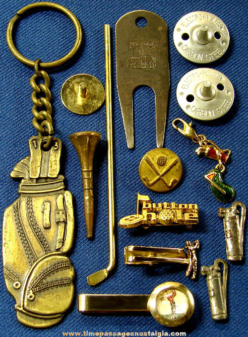 (15) Small Old Metal Golf Sports Related Items