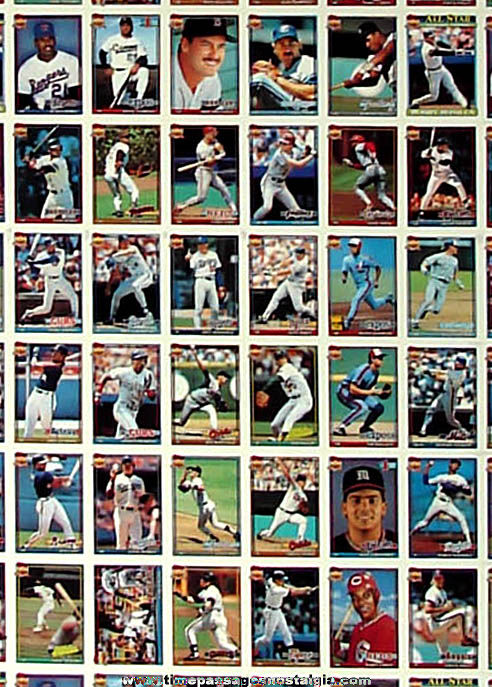 Full Uncut Sheet of 1991 Topps Series II Miniature Cracker Jack Prize Baseball Cards