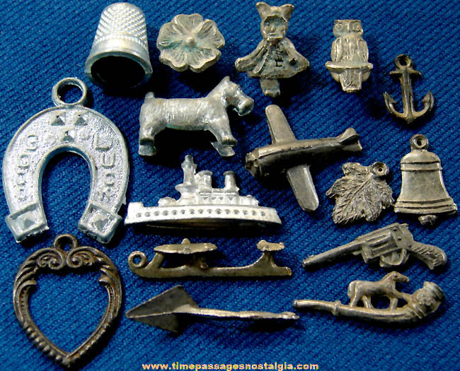 (16) Old Cracker Jack Pot Metal or Lead Miniature Toy Prizes