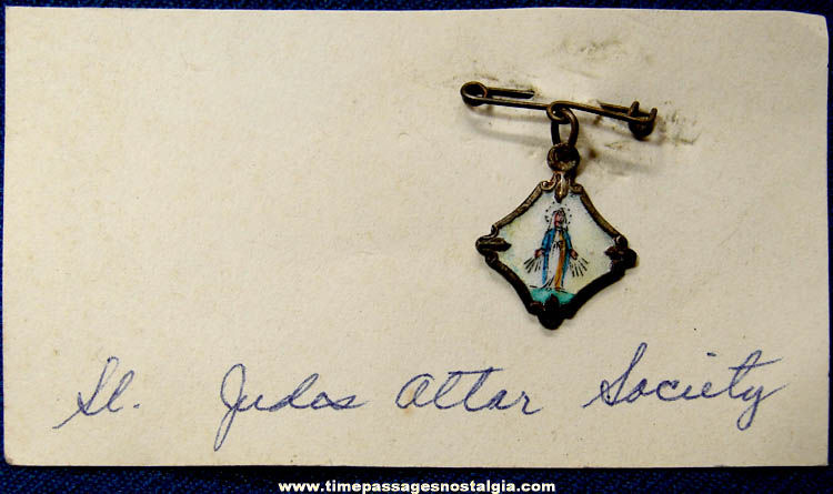 Old Enameled & Painted St. Judes Altar Society Metal Pin