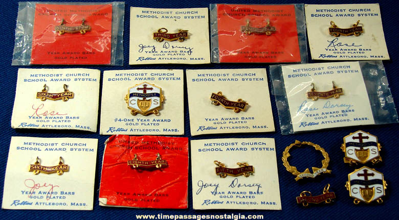 (16) Old Methodist or Christian Gold Plated Jewelry Pins & Charms