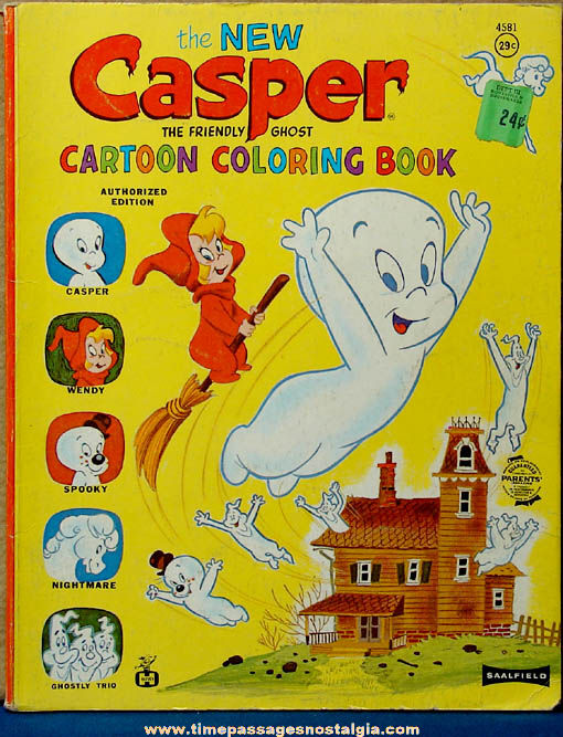 ©1964 Casper The Friendly Ghost Cartoon Character Children's Coloring Book