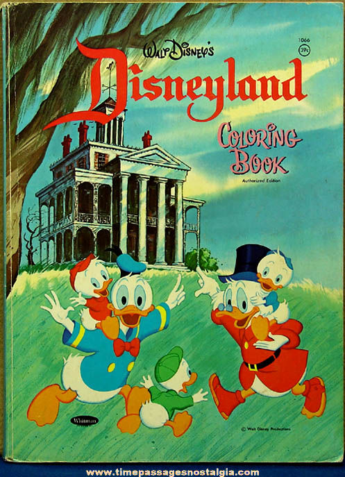 ©1969 Walt Disney Disneyland Cartoon Character Children's Coloring Book