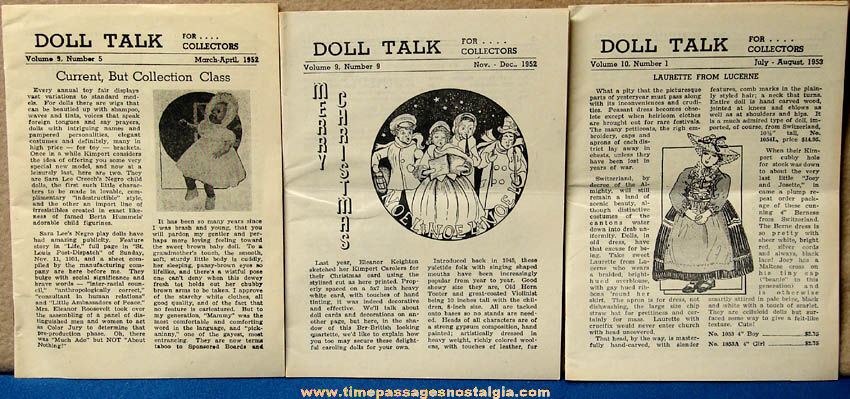 (3) 1952 & 1953 Doll Talk Miniature Newsletter Magazines For Collectors