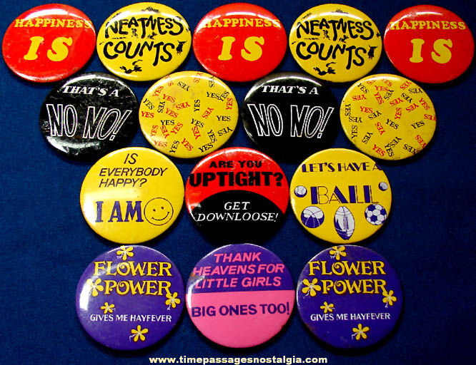 (15) Colorful Old Tin Novelty Pin Back Buttons With Sayings