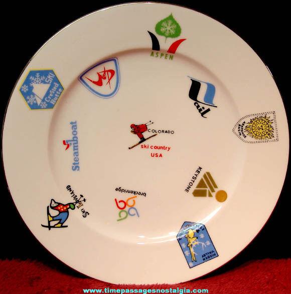 Colorful Old Colorado Ski Resort Logos Advertising Souvenir Plate