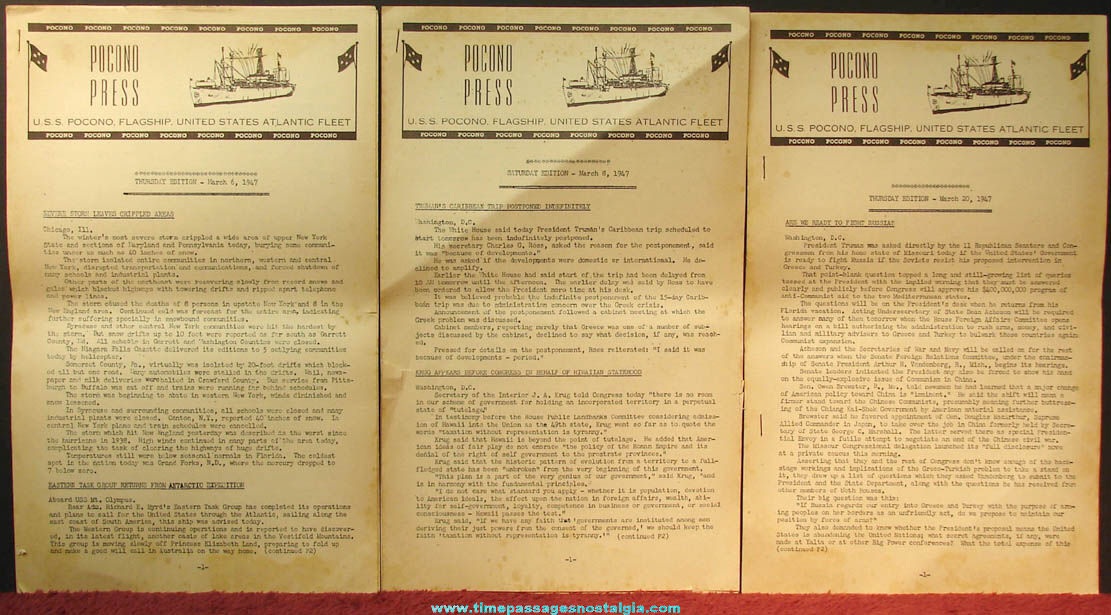 (4) March 1947 United States Navy U.S.S. Pocono AGC-16 Pocono Press Newspapers