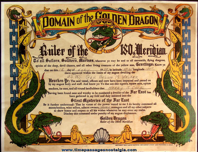©1944 United States Navy Domain of The Golden Dragon Award Certificate