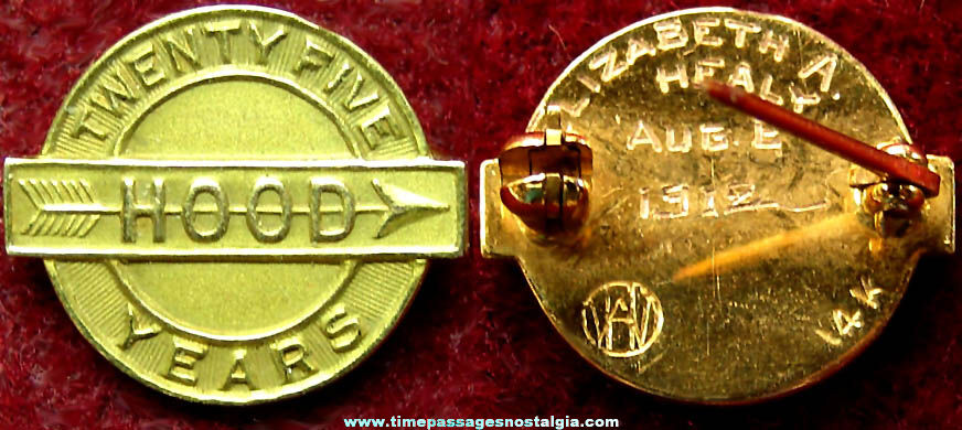 1912 Dated & Engraved Hood Dairy Advertising 25 Year Employee 14K Gold Award Pin
