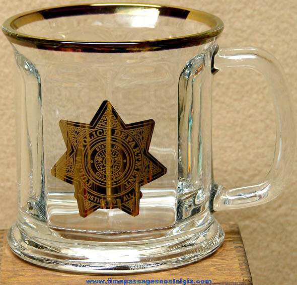 Tulsa Oklahoma Police Department Gold Imprinted Glass Coffee Cup