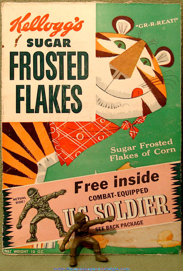1957 Kellogg's Sugar Frosted Flakes Cereal Box Front With Soldier Prize & Bonus Painting