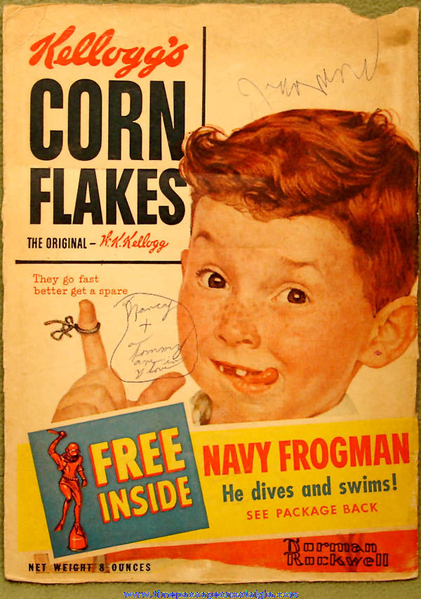 1955 Kellogg's Corn Flakes Cereal Box Front With U.S. Navy Frogman Offer & Bonus Painting