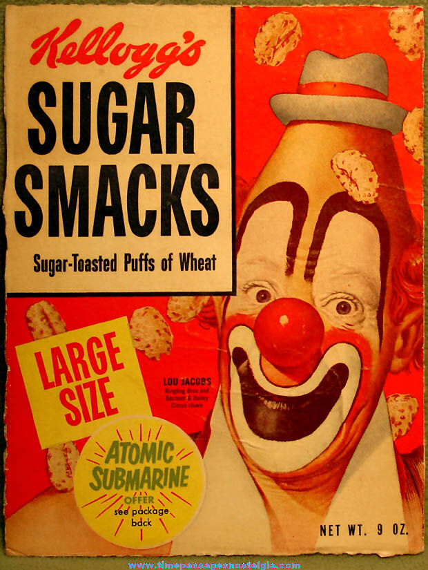 1954 Kellogg's Sugar Smacks Cereal Box Front With U.S. Navy Atomic Submarine Premium Offer & Bonus Painting