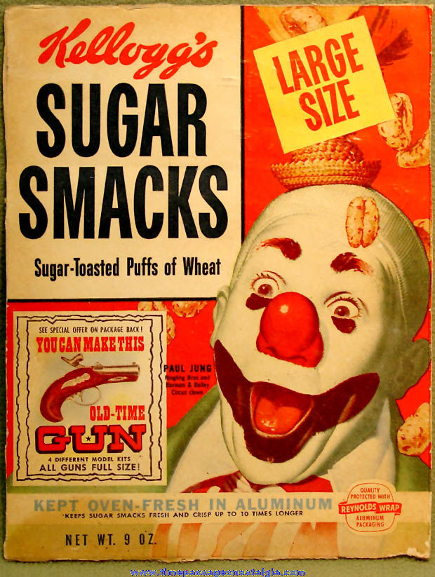 1955 Kellogg's Sugar Smacks Cereal Box Front With Old Time Gun Model Kit Premium Offer & Bonus Painting