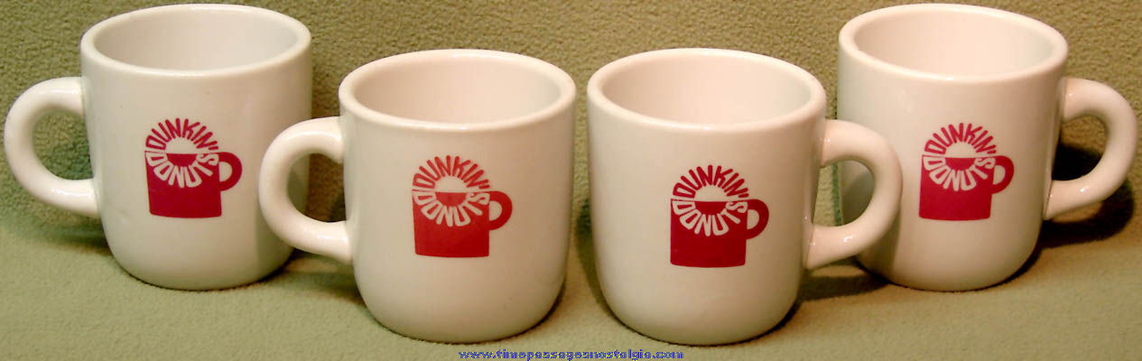 (4) Matching Heavy Old Dunkin' Donuts Advertising Coffee Cups