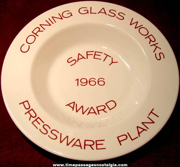 1966 Corning Glass Works Pressware Plant Employee Safety Award Bowl