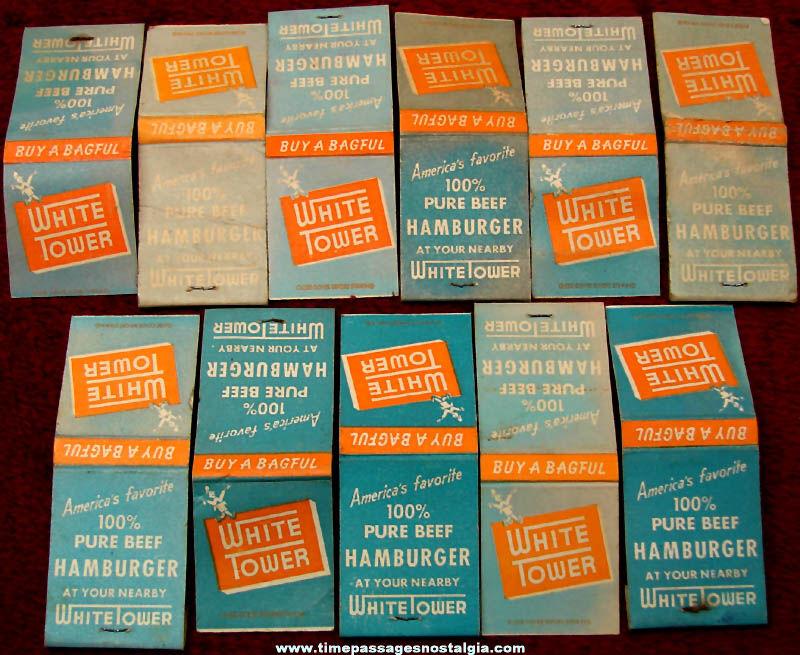 (11) Old White Tower Hamburger Restaurant Advertising Match Books