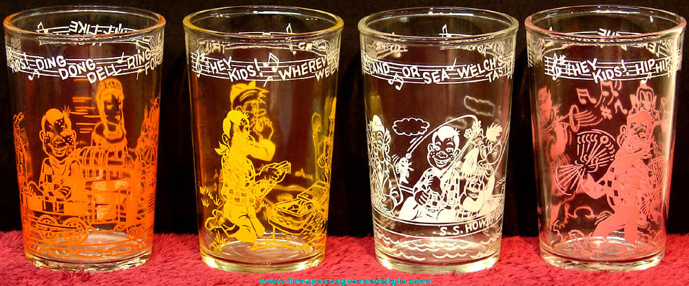 (4) Different ©1953 Howdy Doody Character Welch's Jelly Premium Drink Glasses