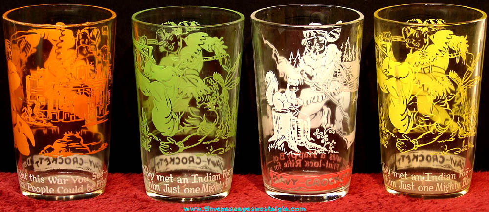 (4) 1950s Davy Crockett Character Welch's Jelly Premium Drink Glasses