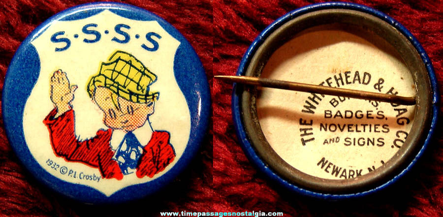 ©1932 Skippy's Secret Service Society Wheaties Cereal Premium Celluloid Pin Back Button