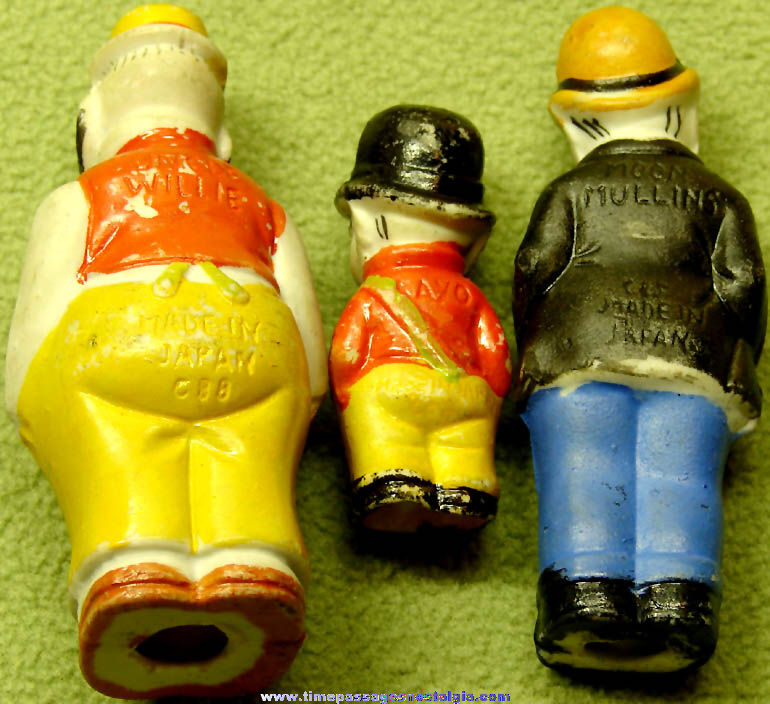 (3) Different Old Moon Mullins Comic Strip Character Bisque Porcelain Figurines