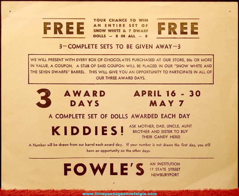 Old Walt Disney Snow White & The Seven Dwarfs Doll Contest Advertisement