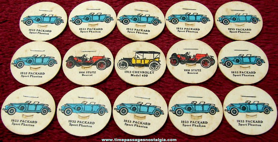 (15) Old Unused Antique Automobile Cardboard Milk Bottle Caps