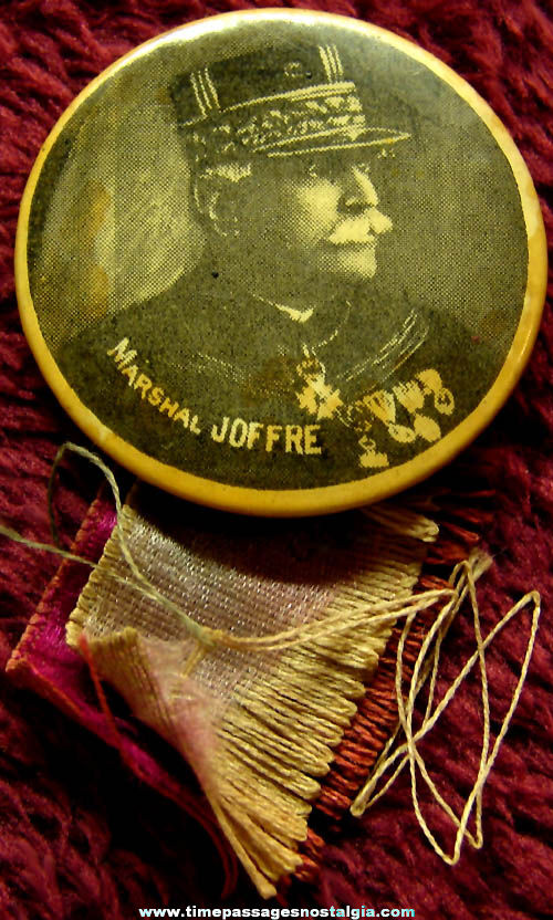 World War I Marshal Joseph Joffre Souvenir Pin Back Button