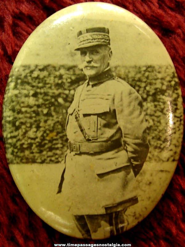World War I French Marshal Ferdinand Foch Souvenir Photo Pin Back Button