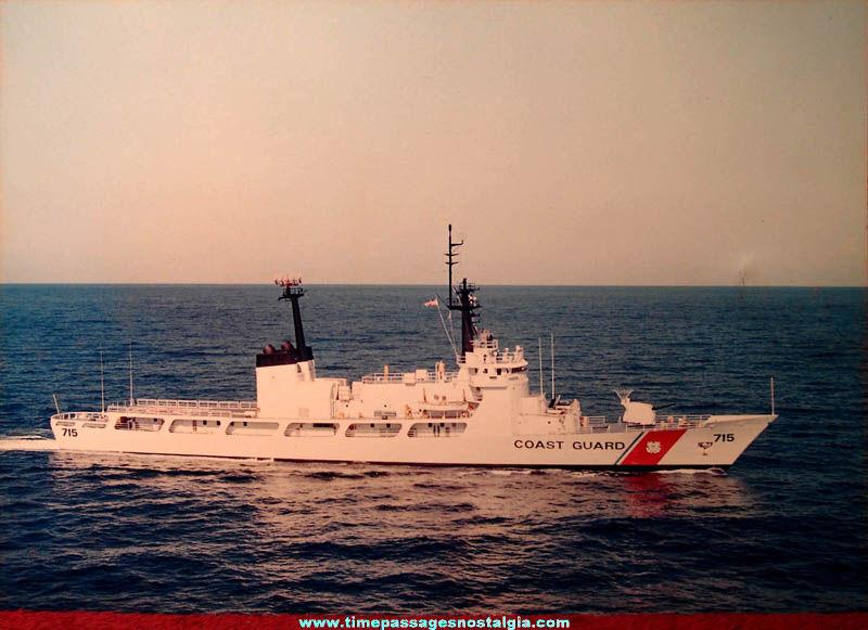 Large Old United States Coast Guard Cutter Hamilton (WHEC-715) Ship Color Photograph