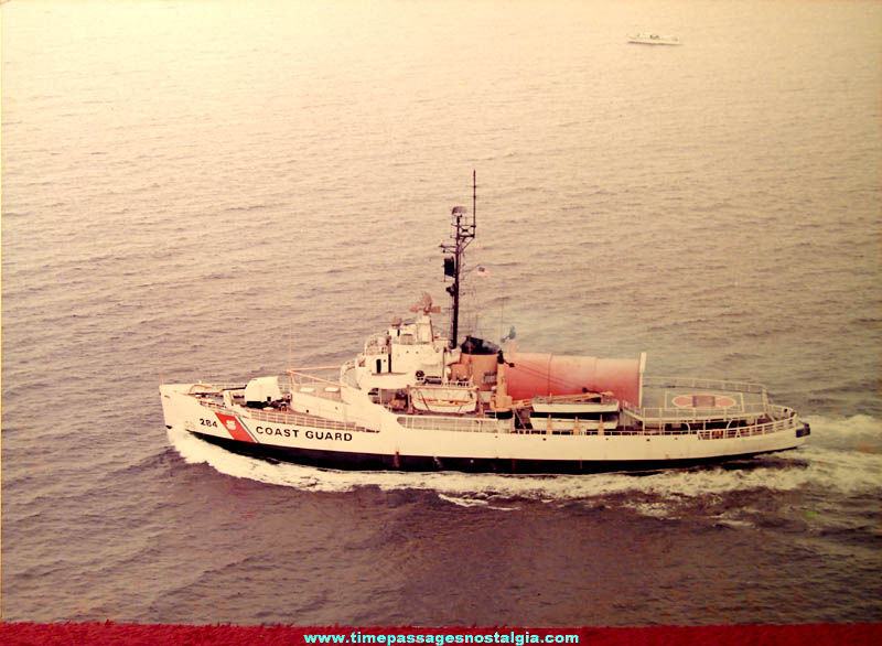 Large Old United States Coast Guard Cutter Edisto (WAGB-284) Ship Color Photograph
