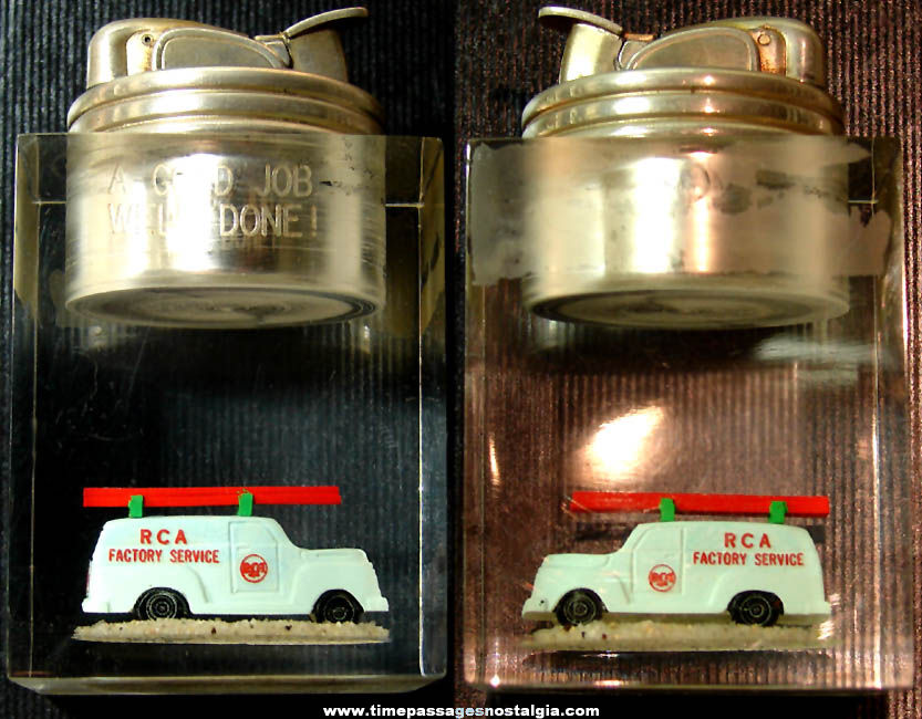 Old RCA Factory Service Advertising Clearfloat Employee Award Cigarette Lighter