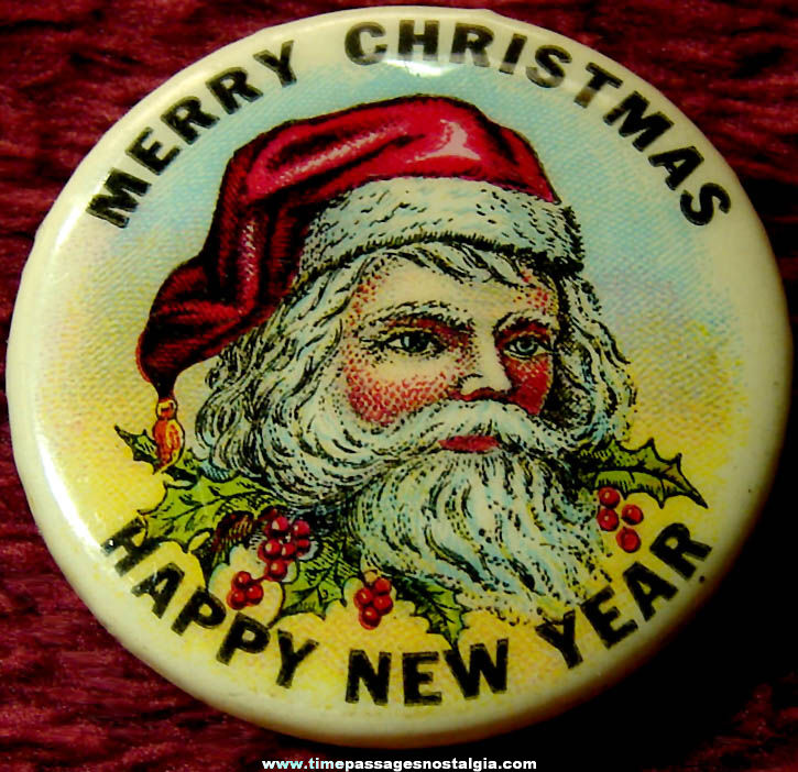 Colorful Old Santa Claus Christmas & New Year Celluloid Pin Back Button