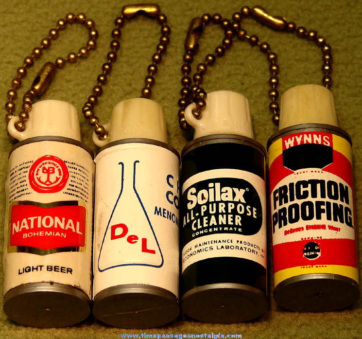 (4) Different Old Advertising Premium Twist Lite Key Chain Flashlights