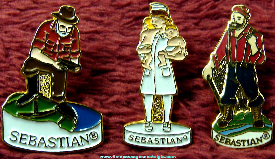 (3) Different Sebastian Miniatures Collectors Society Enameled Metal Pins