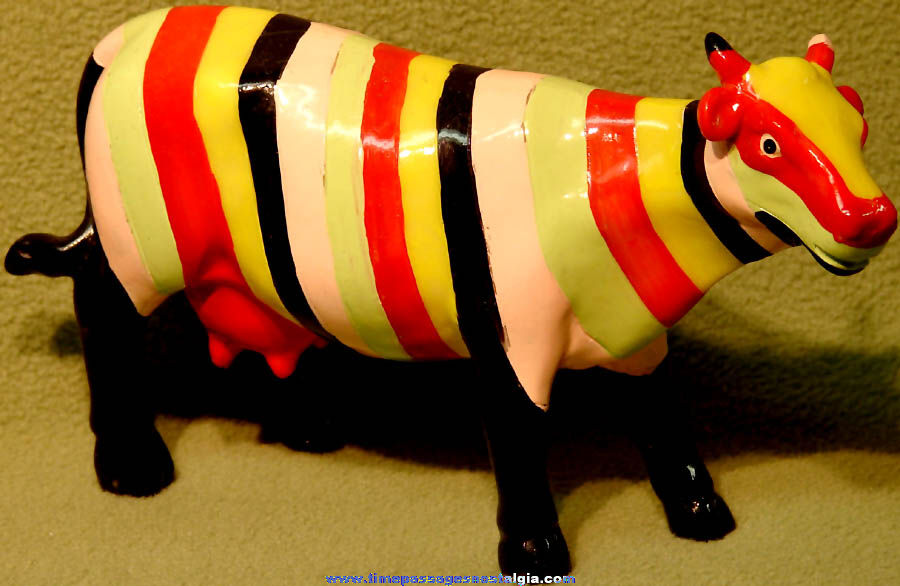 Colorful Cows on Parade Striped Cow Figurine
