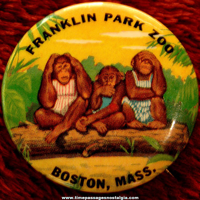 Colorful Old Franklin Park Zoo Advertising Souvenir Pin Back Button