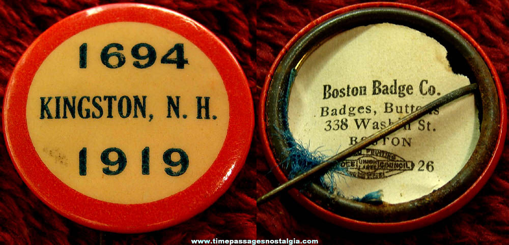 1919 Kingston New Hampshire 225th Anniversary Celebration Celluloid Pin Back Button