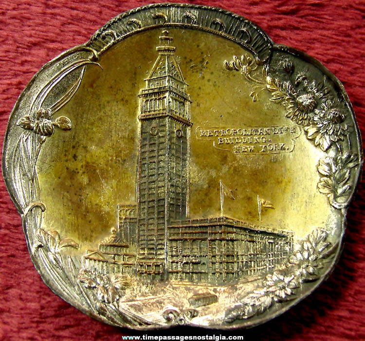 Old Metropolitan Life Building Advertising Souvenir Miniature Metal Plate