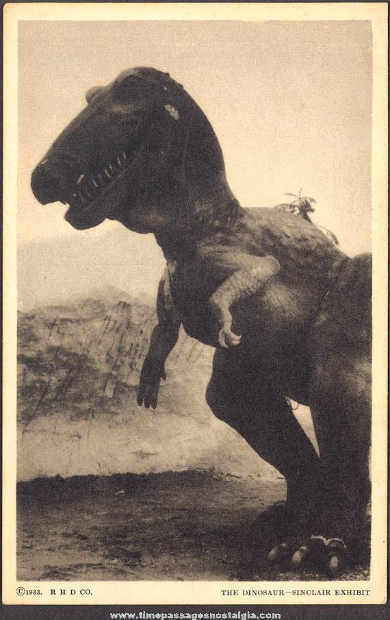 Unused 1933 Century of Progress Chicago World's Fair Sinclair Dinosaur Exhibit Post Card