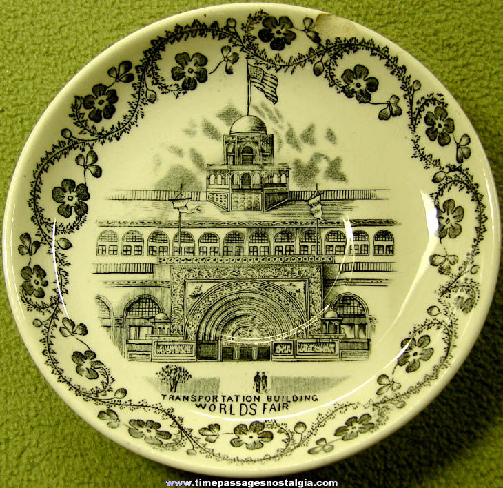 1893 Columbian Exposition Chicago World's Fair Transportation Building Advertising Souvenir Saucer Plate
