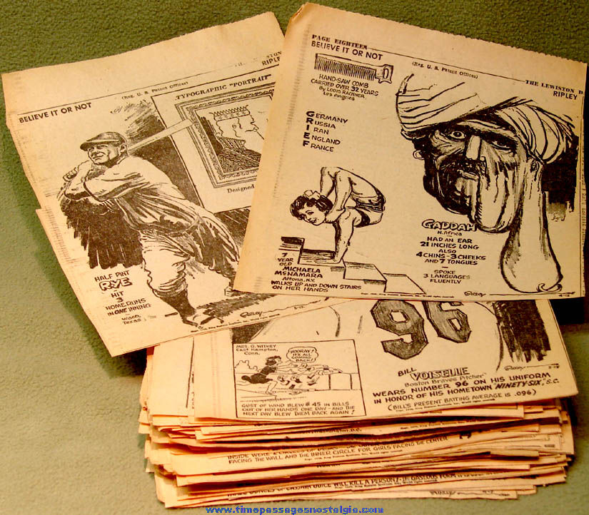 (156) 1948 Robert Ripley's Believe It or Not Newspaper Comic Strip Panel Clippings
