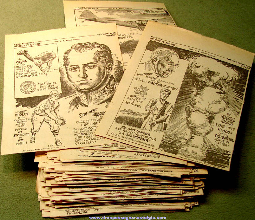 (250) 1950 Robert Ripley's Believe It or Not Newspaper Comic Strip Panel Clippings
