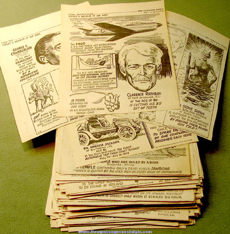 (272) 1954 Robert Ripley's Believe It or Not Newspaper Comic Strip Panel Clippings