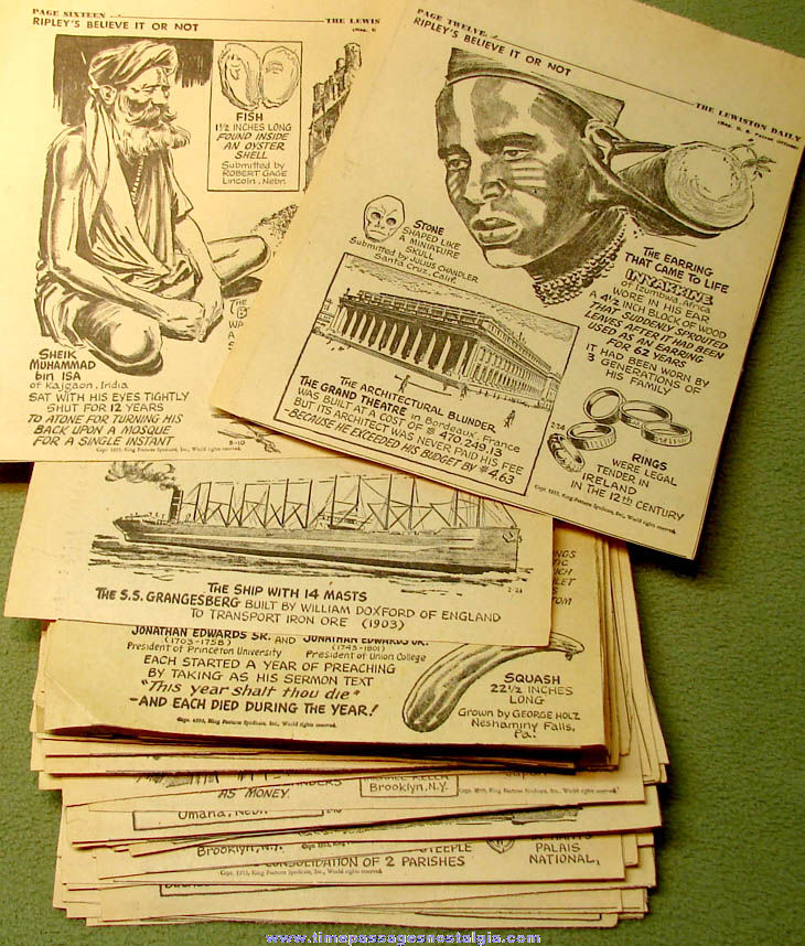(67) 1955 Robert Ripley's Believe It or Not Newspaper Comic Strip Panel Clippings
