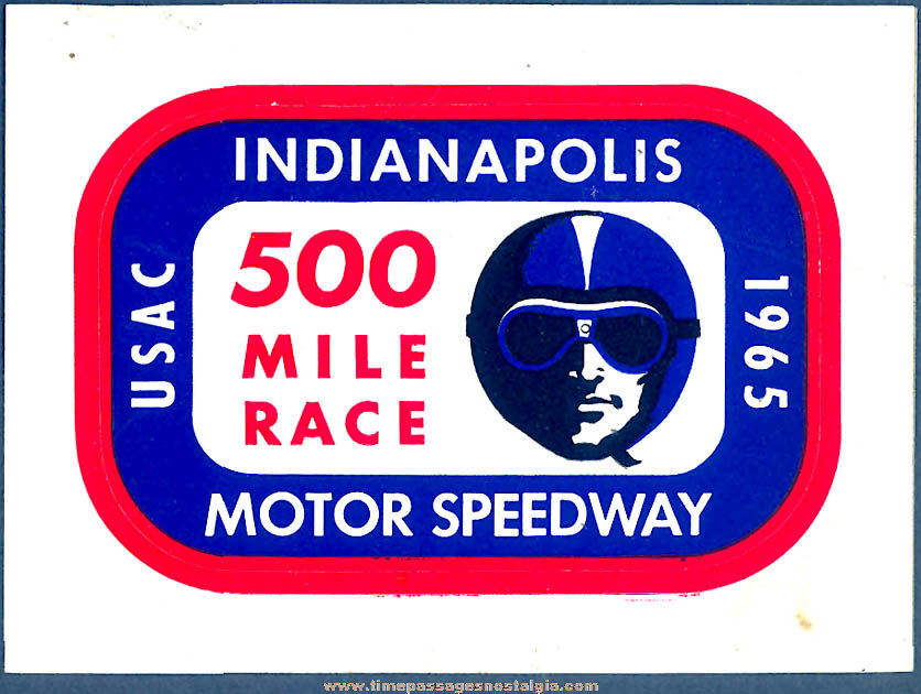 Colorful Old Unused 1965 Indianapolis 500 Mile Race Advertising Paper Sticker