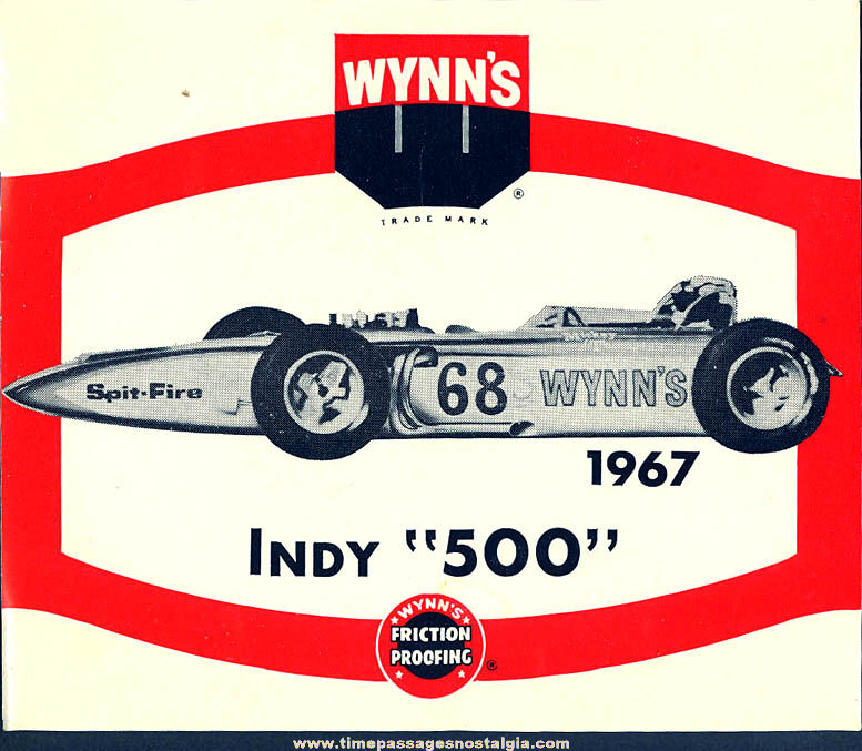 Colorful Old 1967 Indianapolis 500 Wynn's Oil Race Car Advertising Paper Sticker